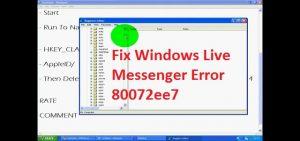 How To Fix Windows Live Messenger Error 80072ee7?